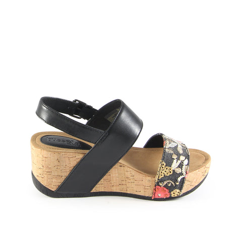 Formentera Slingback Wedge Sandals (Flower Canvas Nero)