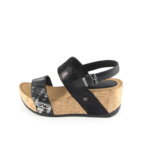 Formentera Slingback Wedge Sandals (Nero Silver)