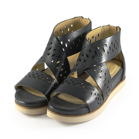 Potsdam Perforated Wide Straps Sandals (Nero)