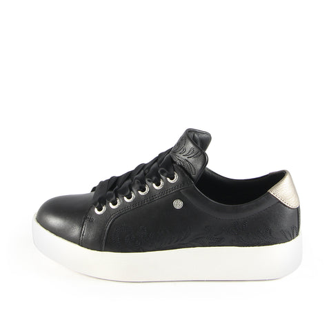 Lizzy Embroidery Lace-Up Sneakers (Nero)