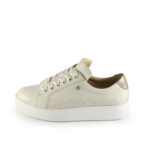 Lizzy Embroidery Lace-Up Sneakers (Bone)