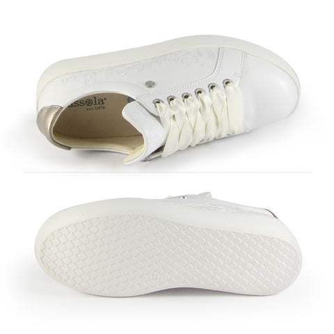 Lizzy Embroidery Lace-Up Sneakers (Bianco)