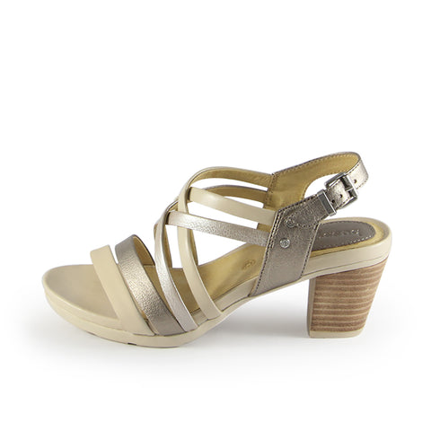 Lima Multi Strap Slingback Sandals (White Gold)