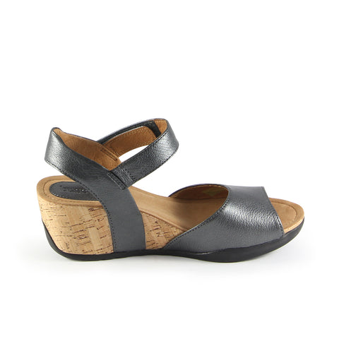 Nice Ankle Strap Wedge Sandals (Steel)