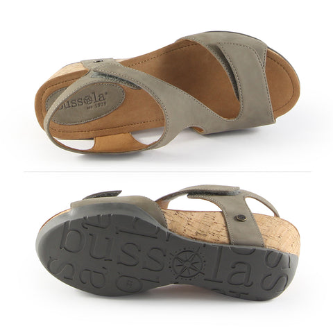Nice Velcro Wedge Sandals (Taupe)
