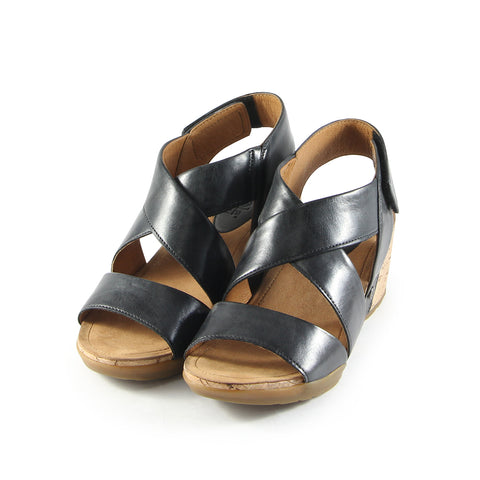 Nice Cross Straps Wedge Sandals (Nero)