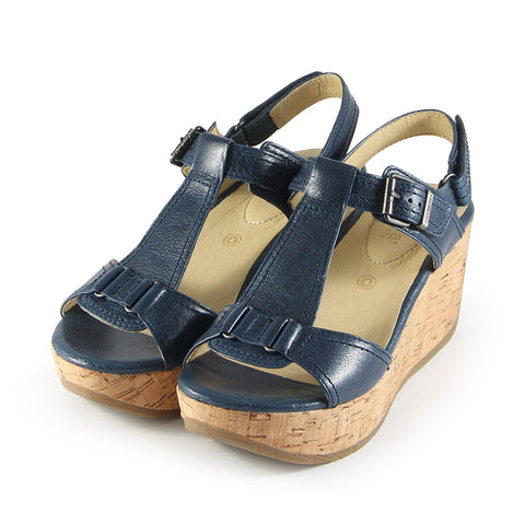 Ibiza T-Strap Wedge Sandals (Marine)