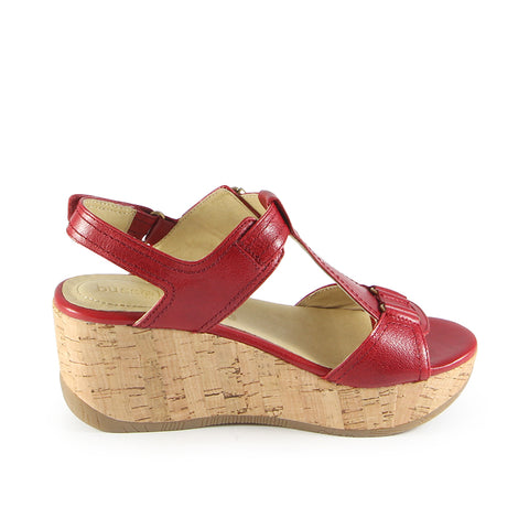 Ibiza T-Strap Wedge Sandals (Red)