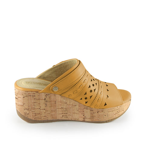 Ibiza Perforated Mule Wedge Sandals (Maize)