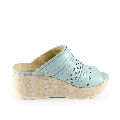 Ibiza Perforated Mule Wedge Sandals (Acqua)