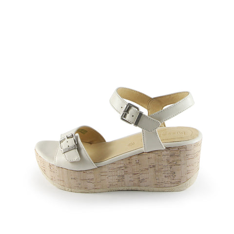 Ibiza Ankle Straps Wedge Sandals (Bone)