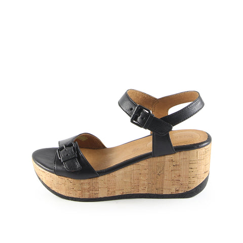 Ibiza Ankle Straps Wedge Sandals (Nero)
