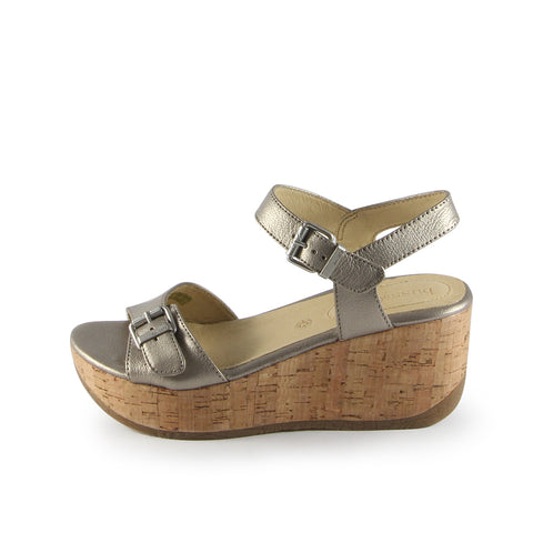 Ibiza Ankle Straps Wedge Sandals (White Gold)