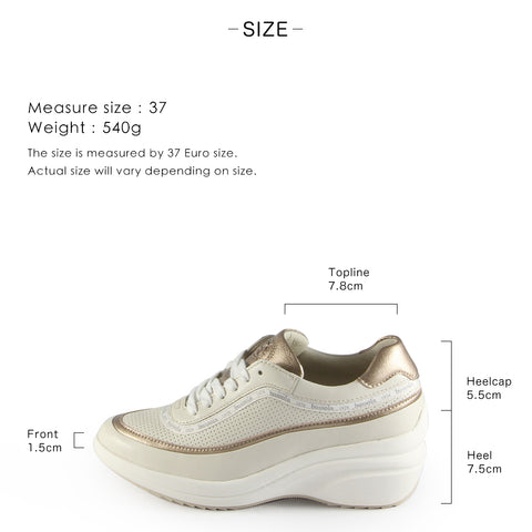 Yokohama Lace-Up Wedge Sneakers (Bone)