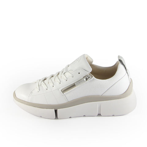 Munich Zipper Lace-Up Sneakers (Bianco)