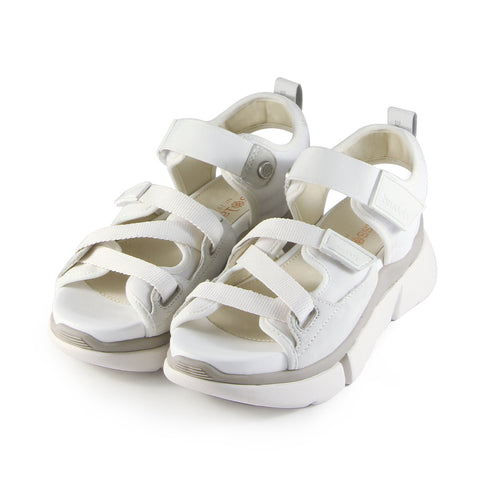 Rome Multi Straps Sporty Flatform Sandals (Bianco)