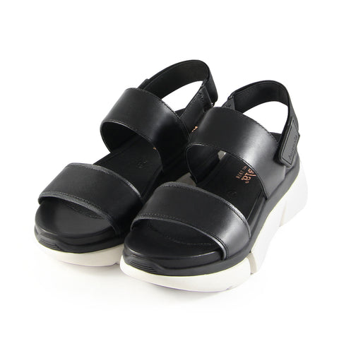Rome Wide Straps Sporty Flatform Sandals (Nero)