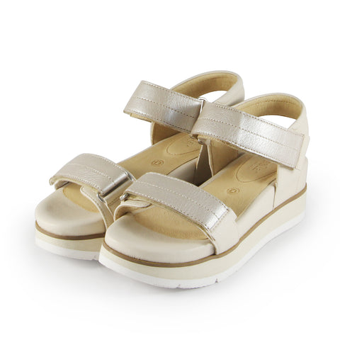 Barcelona Velcro Straps Sandals (Pearl/Doeskin)