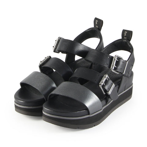 Barcelona Buckle Straps Sandals (Nero)