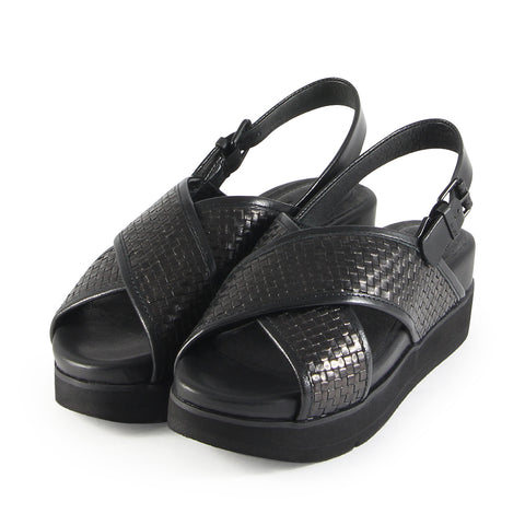 Barcelona Cross Strap Sandals (Nero)