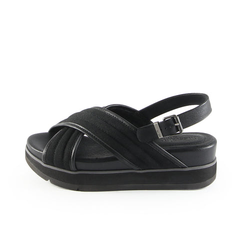Barcelona Cross Strap Sandals (Canvas Nero)