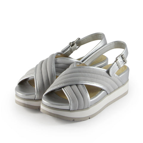 Barcelona Cross Strap Sandals (Canvas Silver)