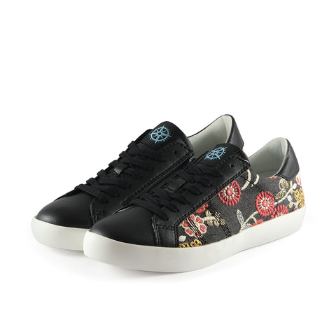 Toscana Lace-Up Sneakers (Flower Canvas Nero)