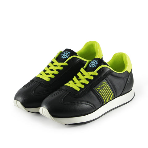 Sapporo Retro Running Sneakers (Nylon Nero/Neon)
