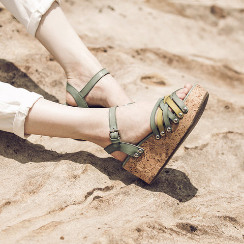 Mansfield Woven Platform Wedges (Peacock/Green)