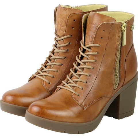 Bucharest Lace-Up Zip Ankle Booties (Toffee)