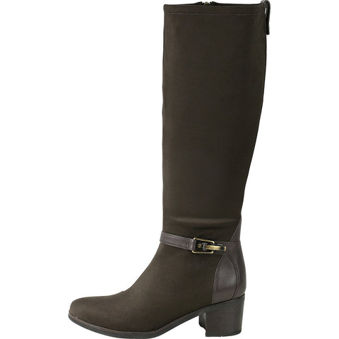 Geneve Flexible Strap Knee-High Boots (Coffee)