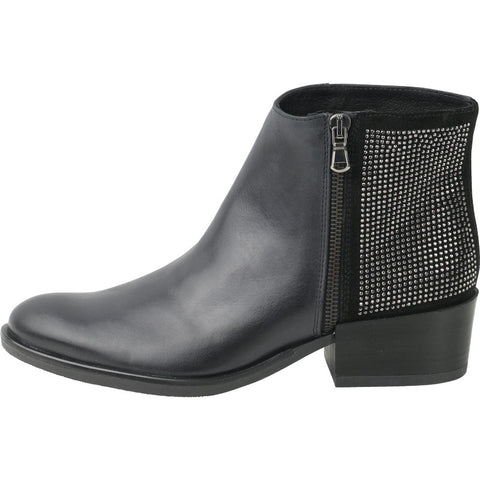 Firenze Rhinestones Zip Ankle Booties (Black)