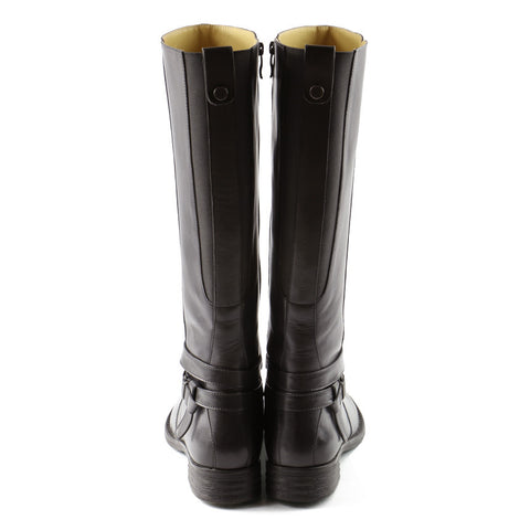 Trapani Straps Knee-High Boots (Charcoal)