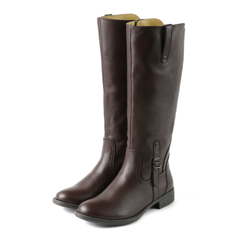 Trapani Water Repellent Knee-High Boots (Coffee)