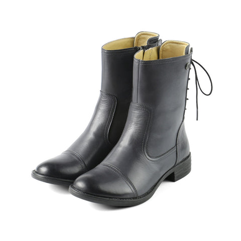 Trapani Back Lace-Up Boots (Charcoal)