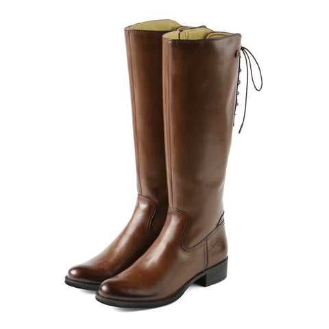 Siena Back Lace-Up Boots (Luggage)
