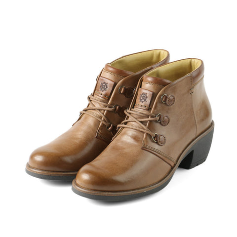 Sirkka Lace-Up Booties (Tobacco/Cognac)