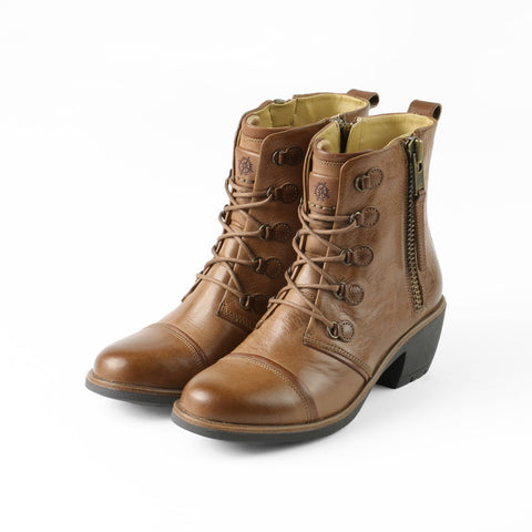 Sirkka Lace-Up Mid Calf Boots (Tobacco/Cognac)