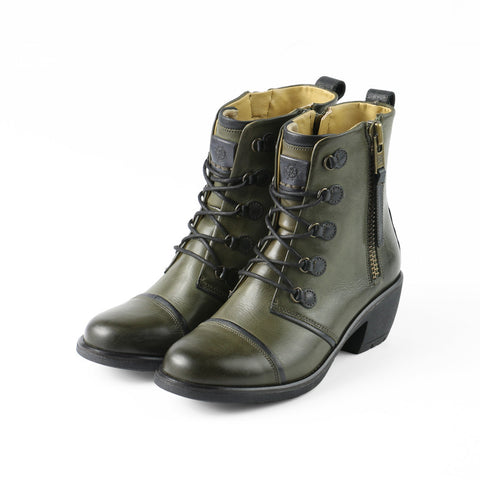 Sirkka Lace-Up Mid Calf Boots (Olive/Black)