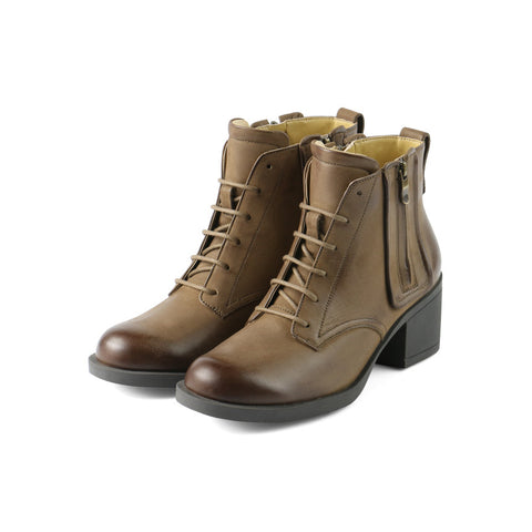 Treviso Lace-Up Zip Booties (Fossil)