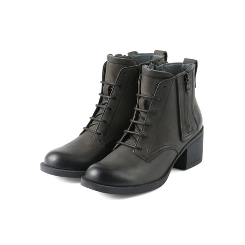 Treviso Lace-Up Zip Booties (Iron)