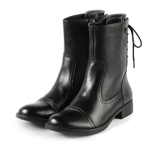 Trapani Back Lace-Up Ankle Boots (Black)