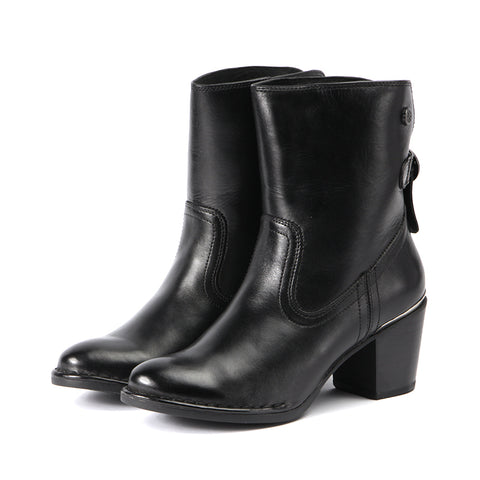 Woodville Ankle Boots with Back Knot (Black)