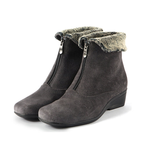 Rimini Fur Collar Booties (Charcoal)