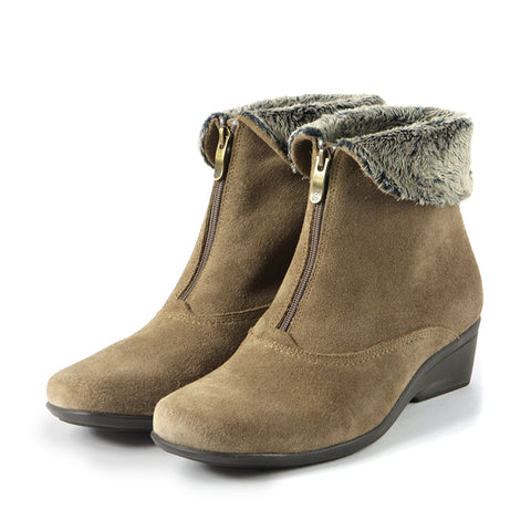 Rimini Fur Collar Booties (Fossil)