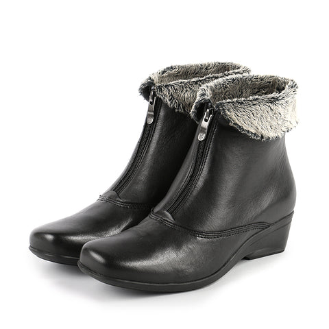 Rimini Fur Collar Booties (Black)