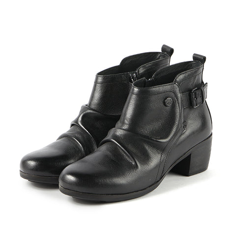 Olbia Pleated Ankle Boots (Black)