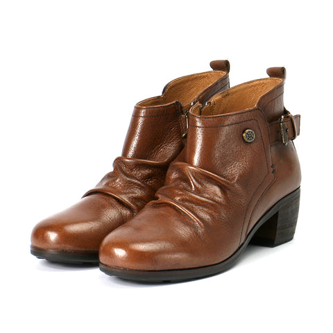 Olbia Pleated Ankle Boots (Cognac)