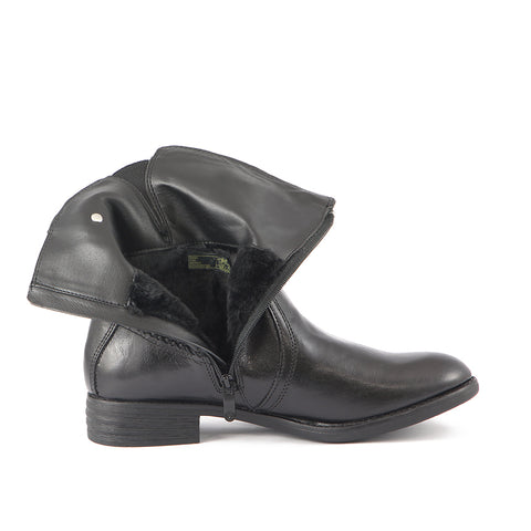Trapani Fur Mid-High Boots (Black)