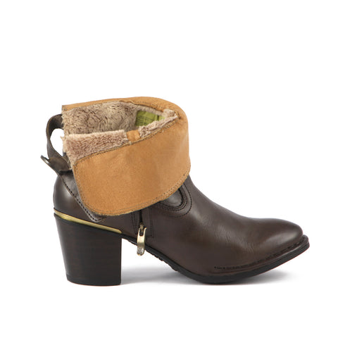 Final-Woodville Fur Ankle Boots with Back Knot (Brown)